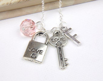 Personalized Lock and Key Necklace with Your Initial and Birthstone
