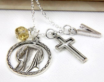 Personalized Virgin Mary Necklace with Your Initial and Birthstone