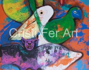 "Original boho painting Symbols of Riviera Maya Sun Venus ocean birds home and office decor 19.5 "" x 25.5 """
