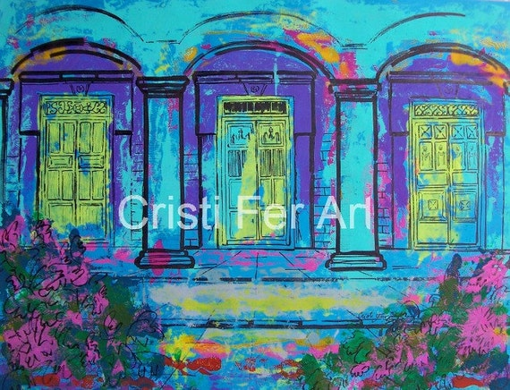 """RESERVED Evening in Mexico Blue Doorsoriginal art Merida architecture acrylic on paper 19.5""""x25.5"""" Christmas gifts for men"""