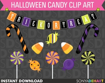60% OFF SALE Halloween Clipart, Halloween Clip Art, Clipart, Halloween Candy, Clip Art, Halloween CA34