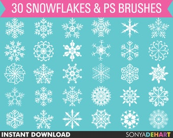 Christmas Clipart, Snowflakes Clipart, Snow Clipart, Winter Clipart, Photoshop Brushes, Holiday Clipart, Winter Clip Art