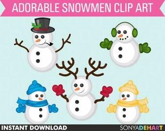 80% OFF Sale Clipart Christmas Snowmen Commercial Use Snowman