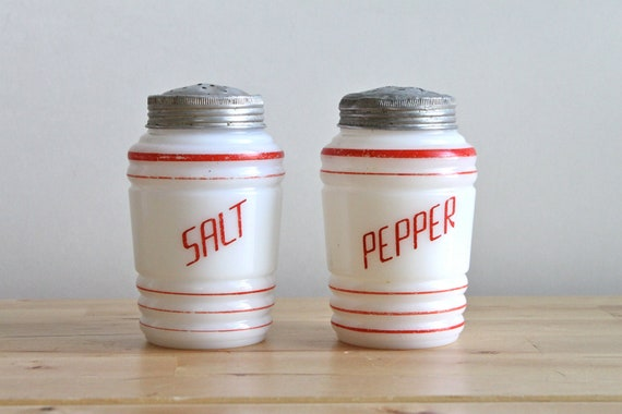 Hazel Atlas Salt and Pepper Shakers - Depression Era Platonite Range Shakers with Red Lettering and Aluminum Lid (Pair of 2)