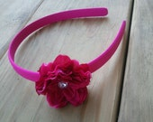 Pink Flower Headband, Girls Headband, Flower Headband, Special Occasion Headband, Photo Prop