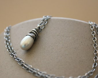 "Silver gray freshwater pearl wire wrapped oxidized sterling silver necklace antiqued Bridal June birthstone--""Droplet"""