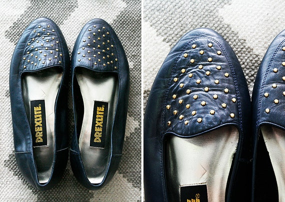 1980s black leather gold studded flats // size 8.5