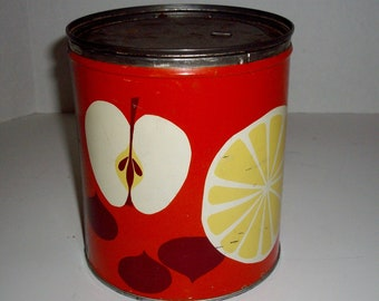 Vintage Enamelware Canister Red Apple Canister Retro 70's
