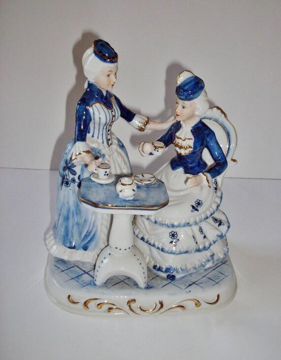 Vintage Porcelain Figurine Victorian Ladies Having By