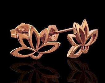 Designer Lotus Flower Buddhist Post Earrings 14K Pink Gold