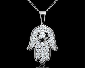 Hamsa Hand of God Amulet Necklace, Diamond Hamsa Pendant, Evil Eye Protector, Gold Hamsa Necklace, Conflict Free,Hamsa Hand Evil Eye Pendant