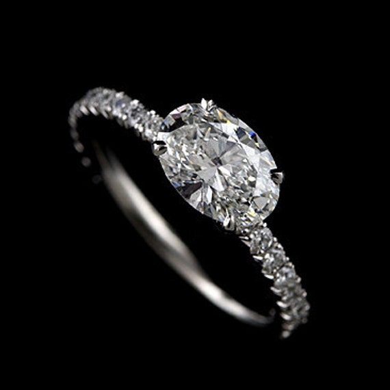 East West Bands: Oval Cut Engagement Ring Cut Down Micro Pave Set Diamonds