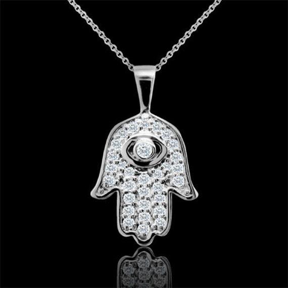 diamond hamsa evil eye pendant necklace 14k white gold. Black Bedroom Furniture Sets. Home Design Ideas