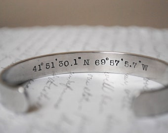 Longitude and Latitude Secret Message Hand Stamped Bracelet- Personalized Bracelet