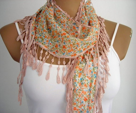 Salmon Pink Scarf with Lace Women Scarves