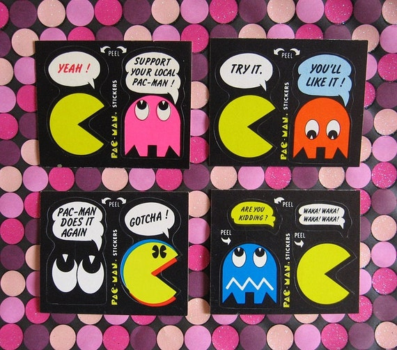 Vintage 1980 PAC-MAN Trading Card STICKERS ...Cool Video Game Collectibles