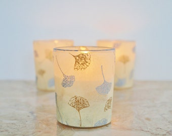 3 Ginkgo Leaves Wedding Votive Candles, Ivory, Silver and Gold Holders, Lighting,by Green Orchid Design Studio