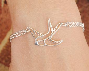 Sterling Silver Bird Bracelet - Sparrow Bracelet - Flying Soaring Bird - Sterling Silver Jewelry Handmade