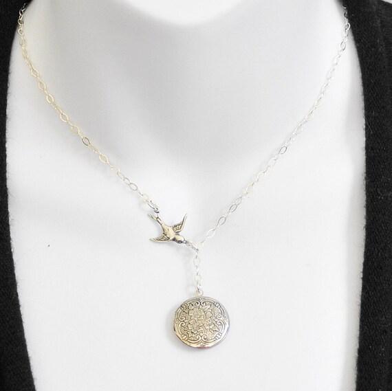 Round Silver Locket Necklace, Bird Lariat Necklace, Victorian Locket, Photo Locket, Mom Jewelry, Sterling Silver Chain