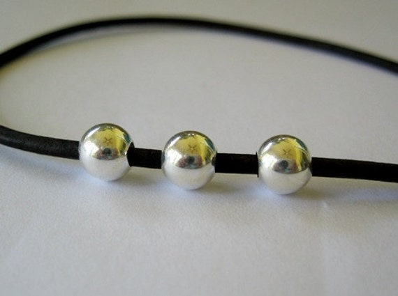 7MM Large Hole Bead 10 Seamless Sterling Silver Round Beads On Sale