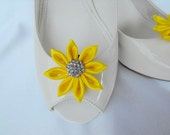 Handmade flower shoe clips with rhinestone center bridal shoe clips wedding accessories in bright  yellow