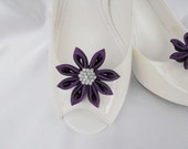 Handmade flower shoe clips with rhinestone center bridal shoe clips wedding accessories in eggplant (dark purple)