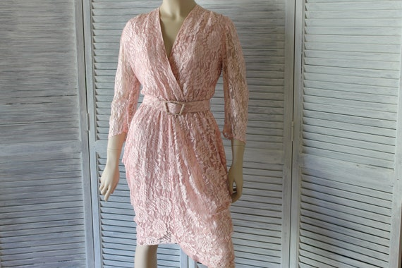 Vintage Pink Lace Cocktail/Wedding Dress 80s Lined