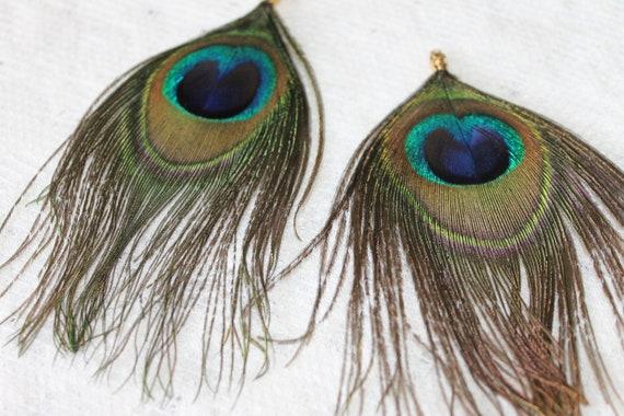 Vintage Peacock Feather Earrings