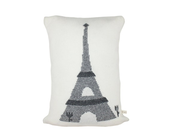 """Pillow  - Eiffel Tower, soft knitted pillow -white, grey - 12""""x18"""", includes insert"""