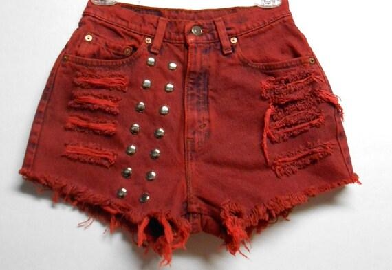 Vintage Levis High Waist Denim Shorts --Dyed RED  with Studs Waist 26  inch