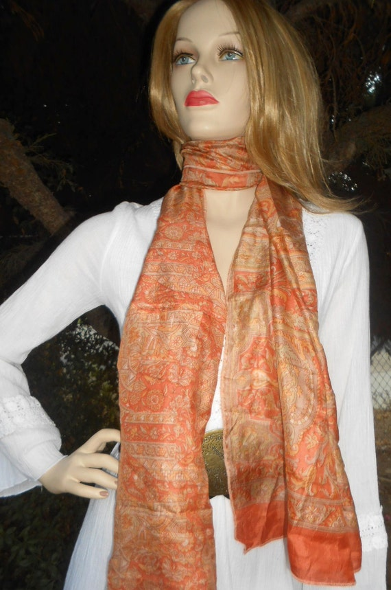 Neck Scarf ----Recycled Vintage SARI  Silk--Gorgeous Fall Colors
