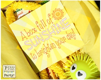 Sunshine Box Printables, Sunshine Gift Box, Cheer Up Care package, Sympaphy Gift, Bad Day Gift,  Get Well Package, Box of Sunshine, DIY Gift