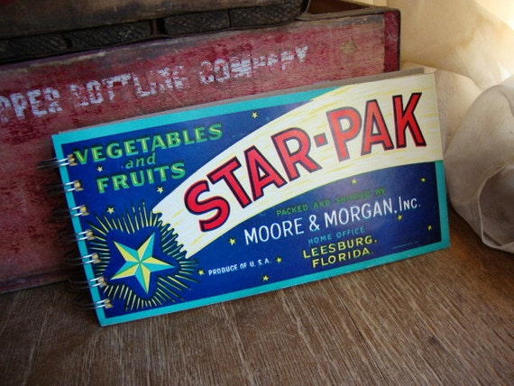 Vintage Star-Pak CRATE LABEL upcycled into 70 pg unlined Spiral Bound NOTEBOOK Doodle Pad