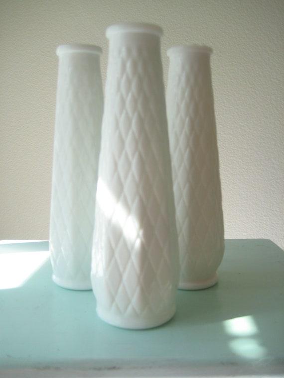 Three Milk Glass Vintage Vases/ White Wedding Vase/ Cottage Shabby Chic Beach Wedding/ Christmas White Vase