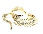 Vintage Bone Tribal Style Necklace, Boho, Ethnic, Natural, Brass Beads