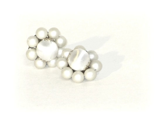 Vintage Matte White Pearl Cluster Earrings Filigree Back Hand Wired Marked Japan Circa 1960