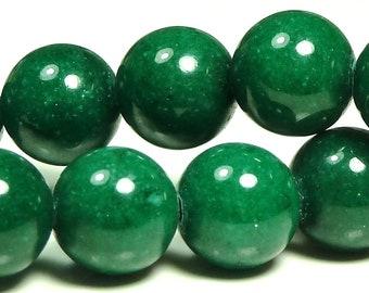 6mm Dark Green Mashan Jade Round Gemstone Beads - 16 Inch Strand - BB26