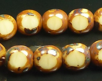 6mm Opaque Beige with Picasso Border Antique Style Czech Glass Beads - 6 Inch Strand (25) - Triangle - BD30