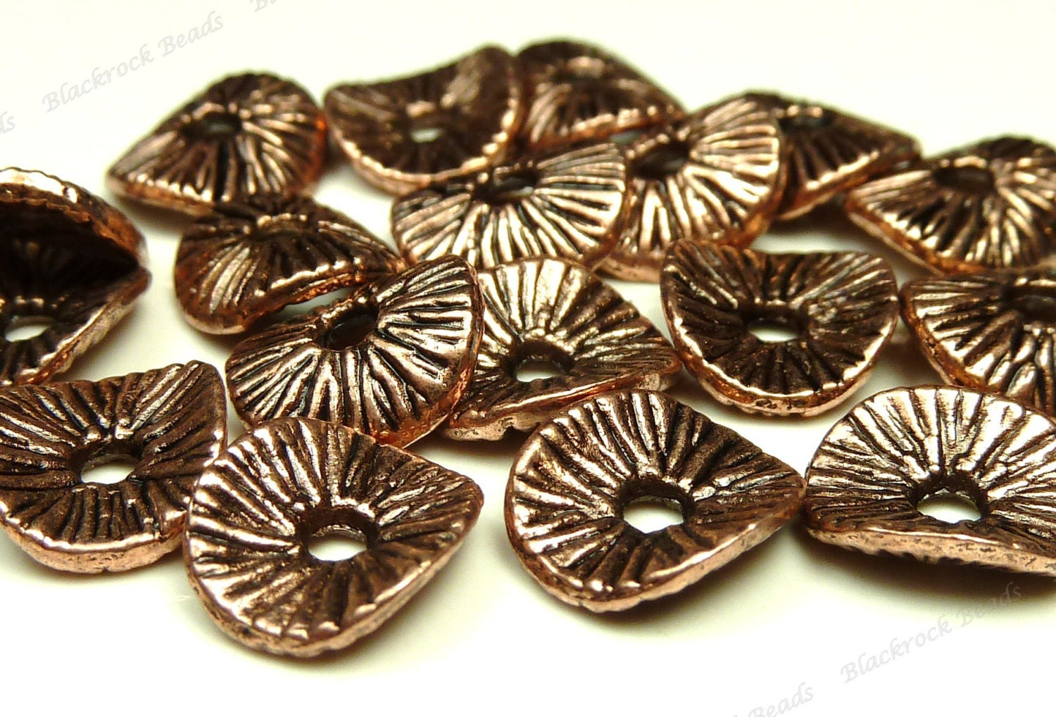 Tibetan Style Copper Red Wavy Metal Spacer Beads - 20pcs - Textured Rondelle Spacers - 9x8mm - BH5 steampunk buy now online