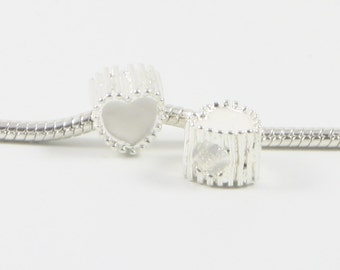 3 Beads - White Enamel Heart Barrel Silver European Charm Bead E0647