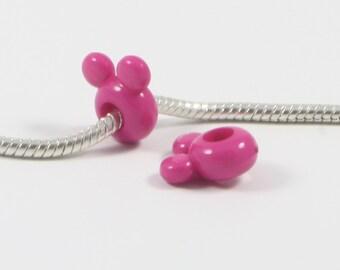 25 Beads - Fushia Pink Bear Ears Acrylic European Bead Charm BD0144