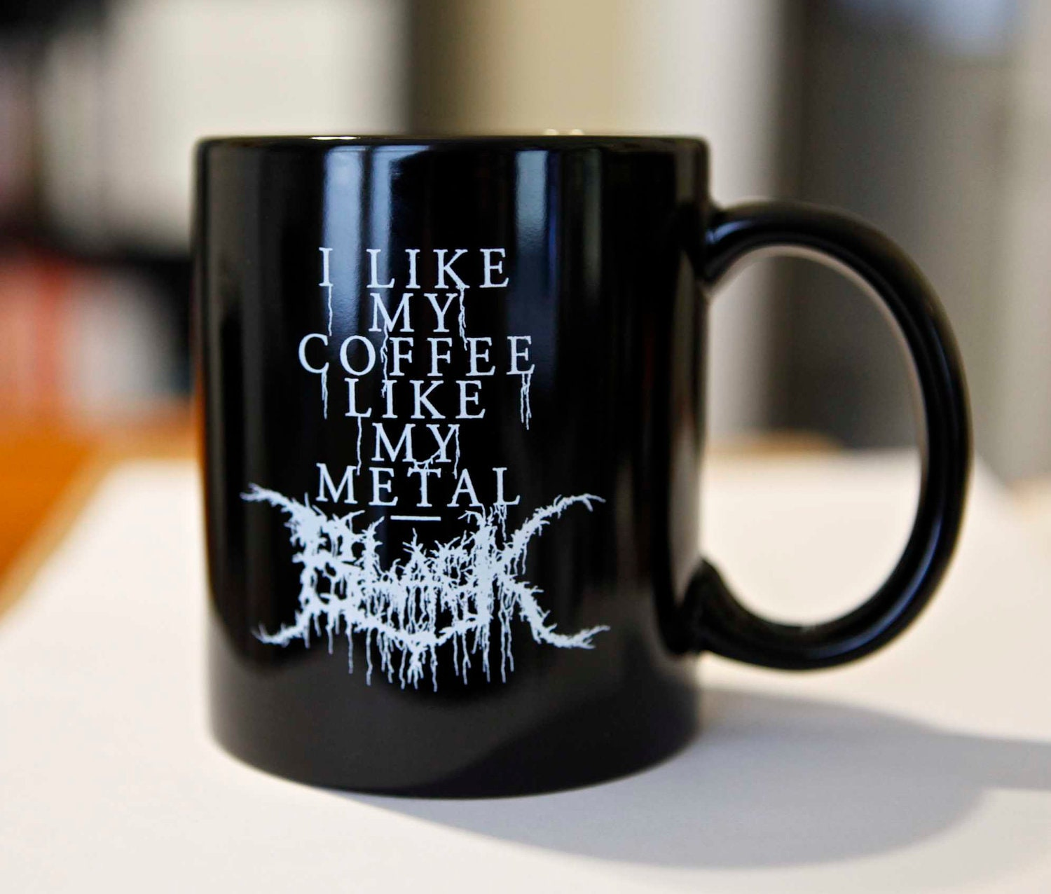 black metal coffee mug black. Black Bedroom Furniture Sets. Home Design Ideas