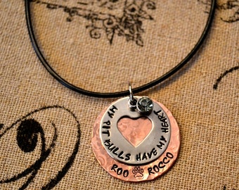 My Pit Bulls Have My Heart Personalized Handstamped Necklace