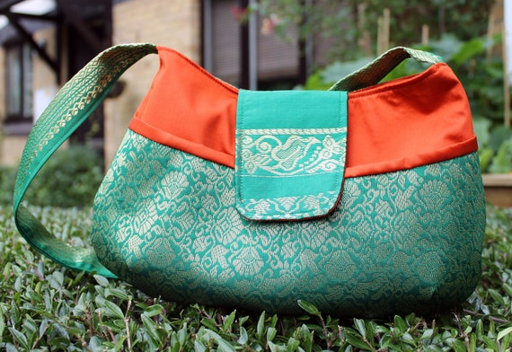 Purse, Handbag, green, orange, gold, Indian sari bag, Bollywood