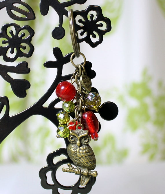 Owl keychain, bag charm, red and green glass beads