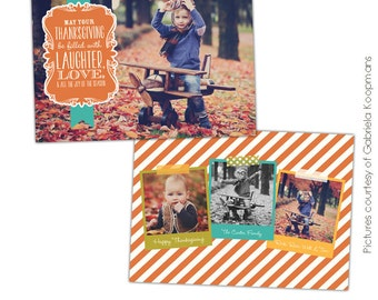 INSTANT DOWNLOAD - Thanksgiving Photo Card Photoshop template - Fall wishes - E579