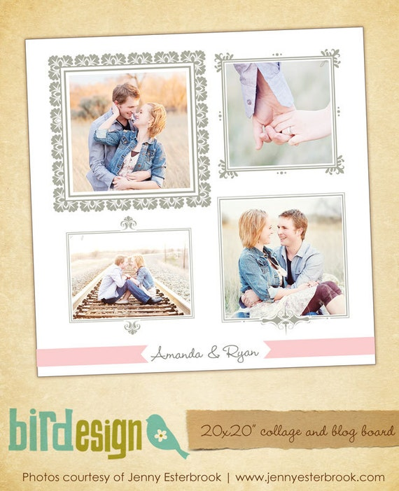 INSTANT DOWNLOAD  - Photoshop Blog Board & 20x20 Collage Template - E473