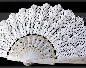 White lace hand fans crochet, 100% cotton, wedding decoration Doily .  For the Princess