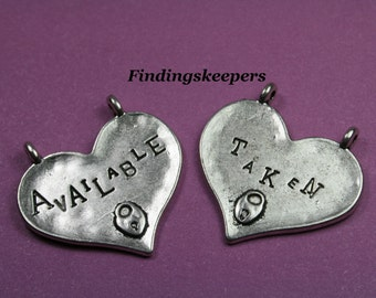 Heart Charm 2 Double Sided Word Charms Antique Silver 29 x 28 mm - ts095