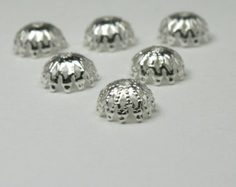 Bead caps 24 - 8 mm Silver Plated   bc091